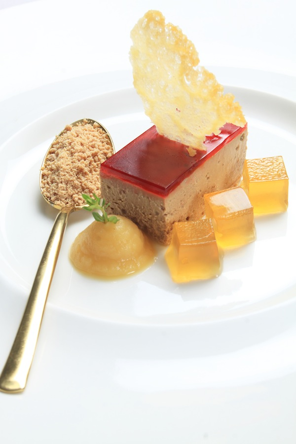 Chicken liver parfait with cherry glaze,apple puree and brandy jelly