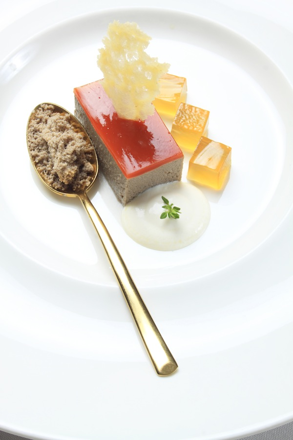 Porcini mashroom parfait with tomato glaze,parmesan cream and brandy jelly