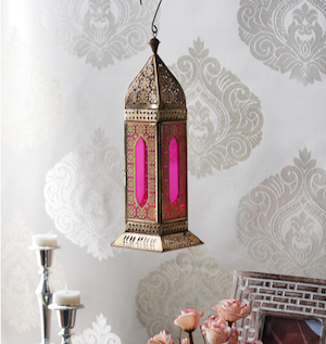CasaCraft Rimini Pink and Golden Glass Festive Lantern pepperfry