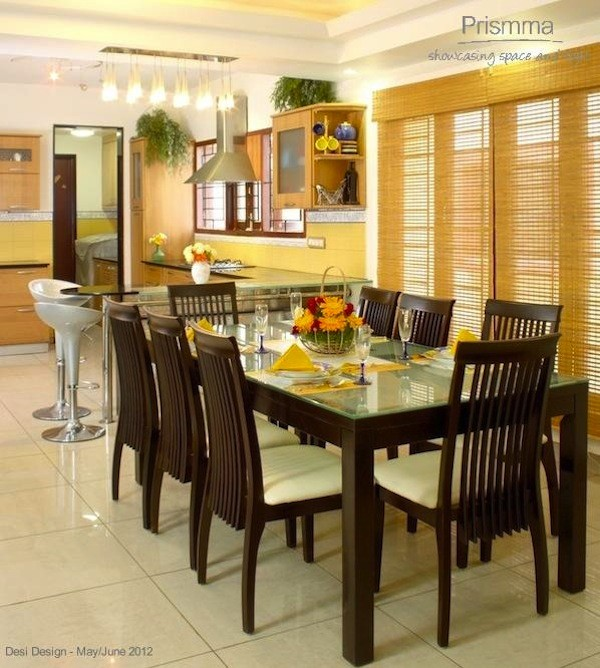 Bangalore architect anil bhaskaran 39 s tropical style villa for Dining room designs indian style