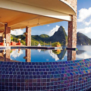 Soufriere, St. Lucia; Rm JE1, view of the Pitons from pool suite at Jade Mountain at Anse Chastenet Resort