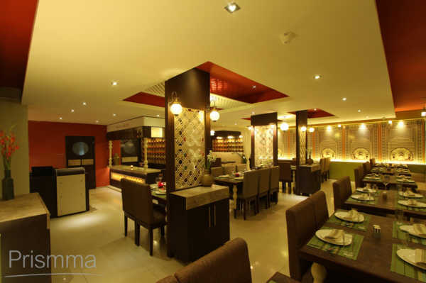 Restaurant design shaam e avadh baroda pomegranate design for Interior jali designs