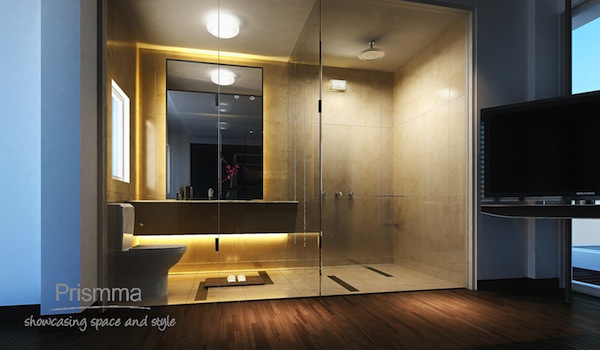 bathroom design, flooring, glass partition, lighting design, wooden flooring, fixtures and fittings