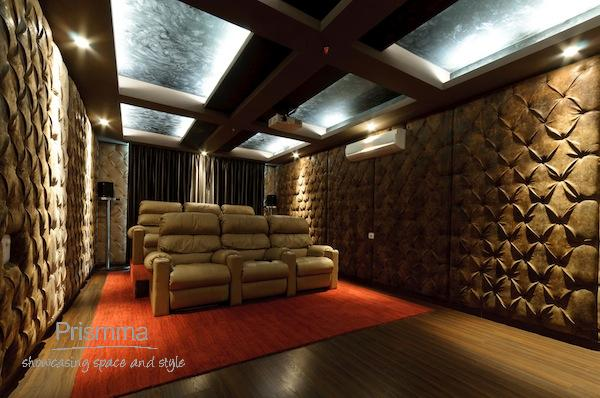 Merveilleux Home Theatre With Recliners And Upholstered Panels Armaan17